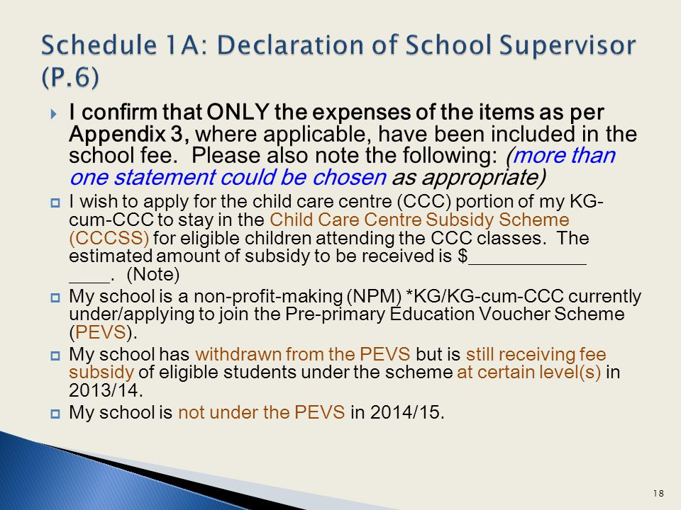 I confirm that ONLY the expenses of the items as per Appendix 3, where applicable, have been included in the school fee.