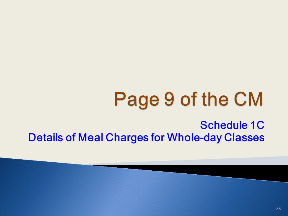 Schedule 1C Details of Meal Charges for Whole-day Classes 25