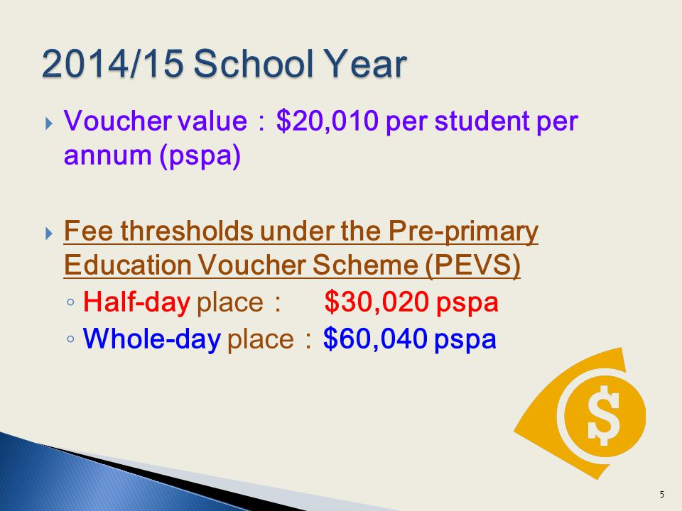 Voucher value$20,010 per student per annum (pspa) Fee thresholds under the Pre-primary Education Voucher Scheme (PEVS) Half-day place $30,020 pspa Whole-day place$60,040 pspa 5
