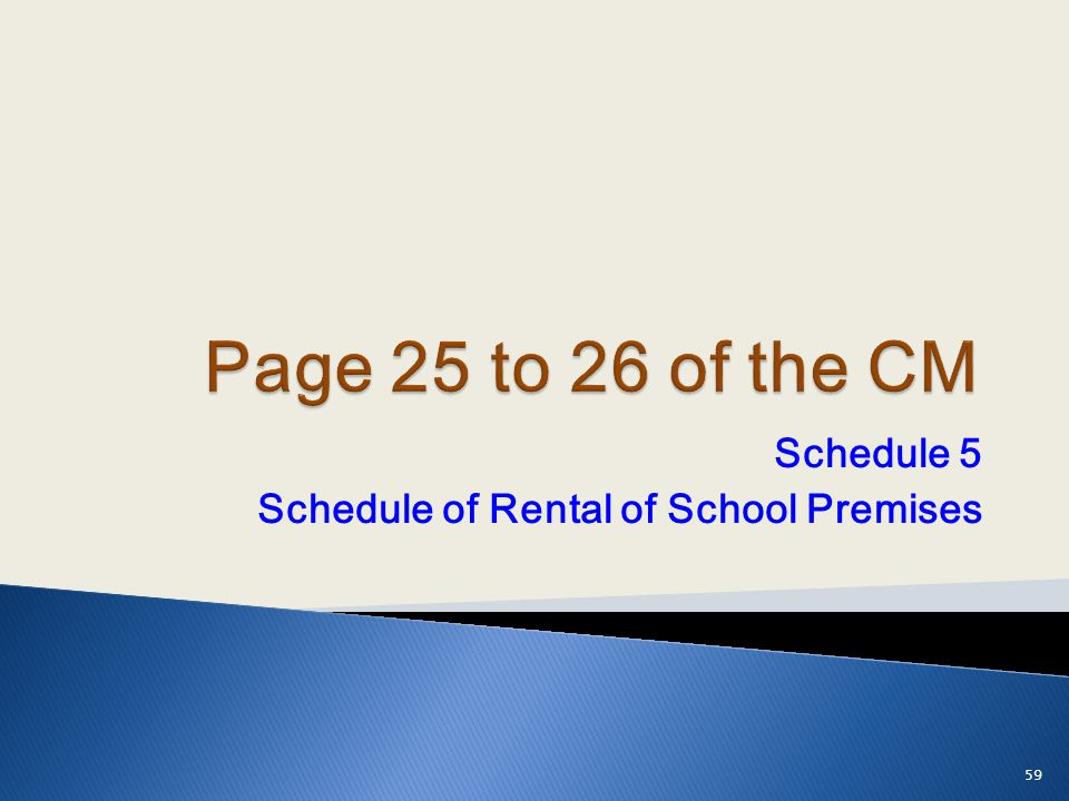 Schedule 5 Schedule of Rental of School Premises 59