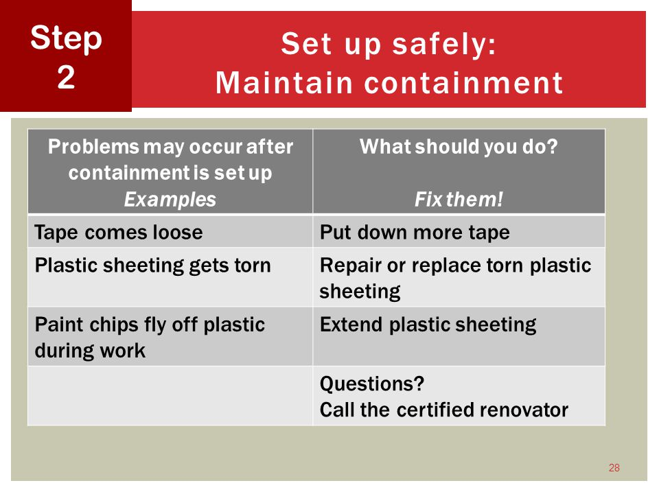 28 Set up safely: Maintain containment Step 2 Problems may occur after containment is set up Examples What should you do.