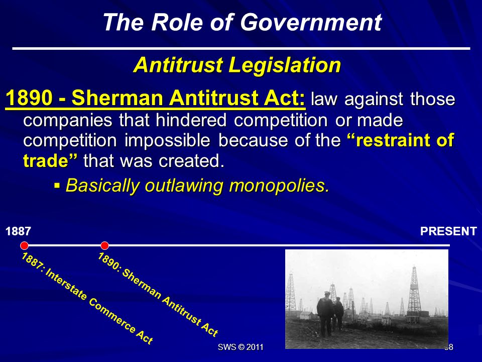 SWS © 2011 57 4) Government Monopoly: Retained by the government. Liquor sales in some counties, uranium production, water, etc. Liquor sales in some