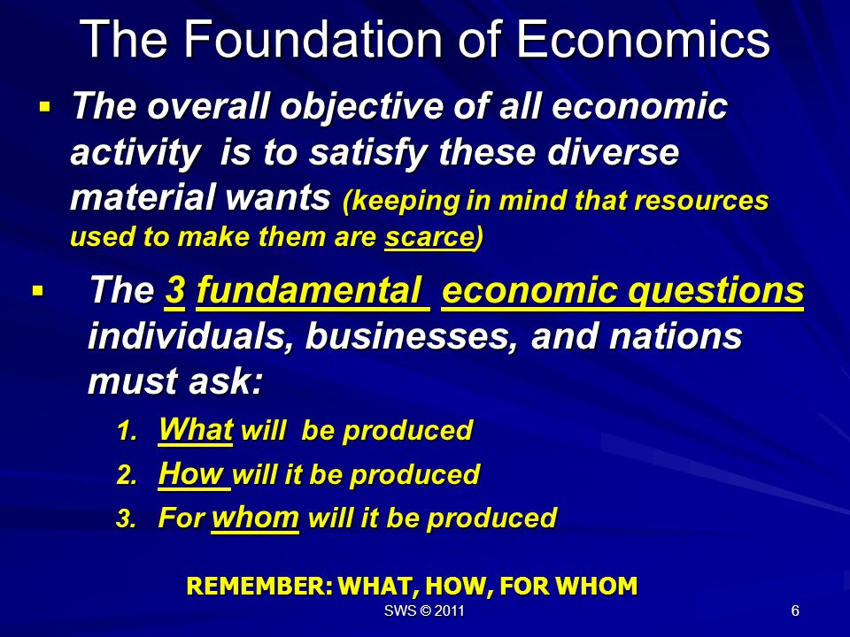 SWS © 2011 16 The Foundation of Economics In stating the first fact, what do we mean by material wants.