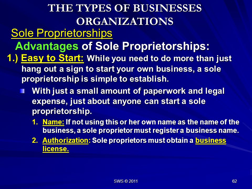 SWS © 2011 61 Sole Proprietorships The Role of Sole Proprietorships: THE TYPES OF BUSINESSES ORGANIZATIONS –A sole proprietorship is a business owned