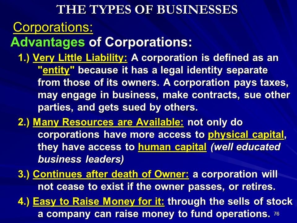 SWS © 2011 75 Two Types of Corporations: Corporations THE TYPES OF BUSINESSES 1.) Private Corporations: Some corporations issue stock to only a few pe