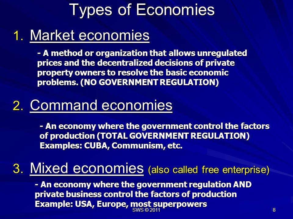 SWS © 2011 8 1.Market economies 2. Command economies 3.