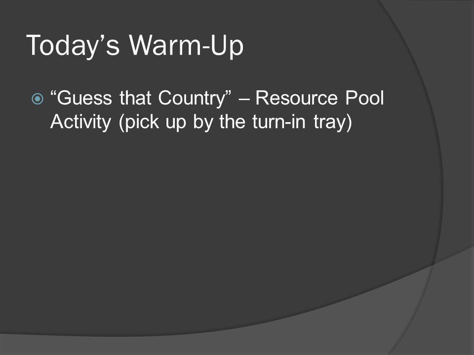 Todays Warm-Up Guess that Country – Resource Pool Activity (pick up by the turn-in tray)