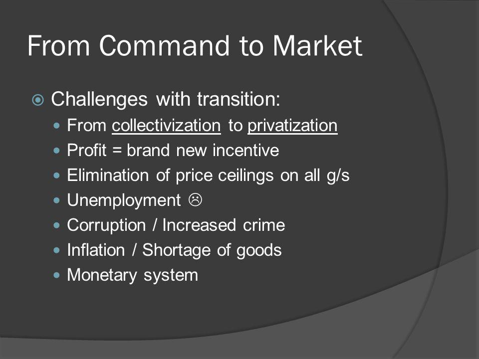 From Command to Market Challenges with transition: From collectivization to privatization Profit = brand new incentive Elimination of price ceilings on all g/s Unemployment Corruption / Increased crime Inflation / Shortage of goods Monetary system