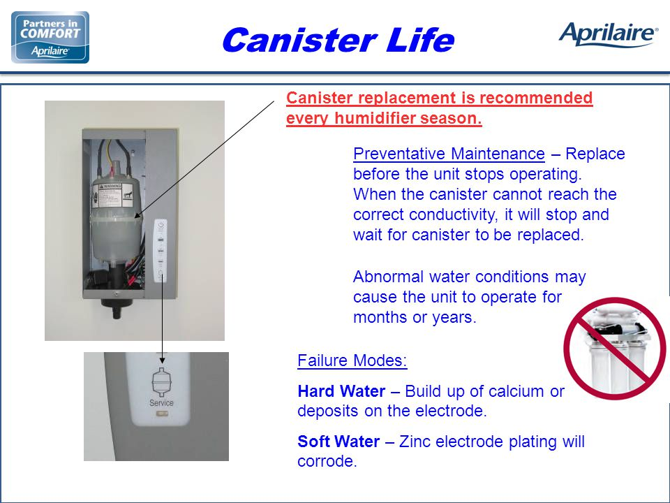 Canister Life Canister replacement is recommended every humidifier season.