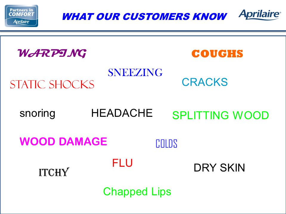 WARPING COUGHS SNEEZING STATIC SHOCKS CRACKS WHAT OUR CUSTOMERS KNOW snoring SPLITTING WOOD WOOD DAMAGE COLDS HEADACHE FLU ITCHY DRY SKIN Chapped Lips