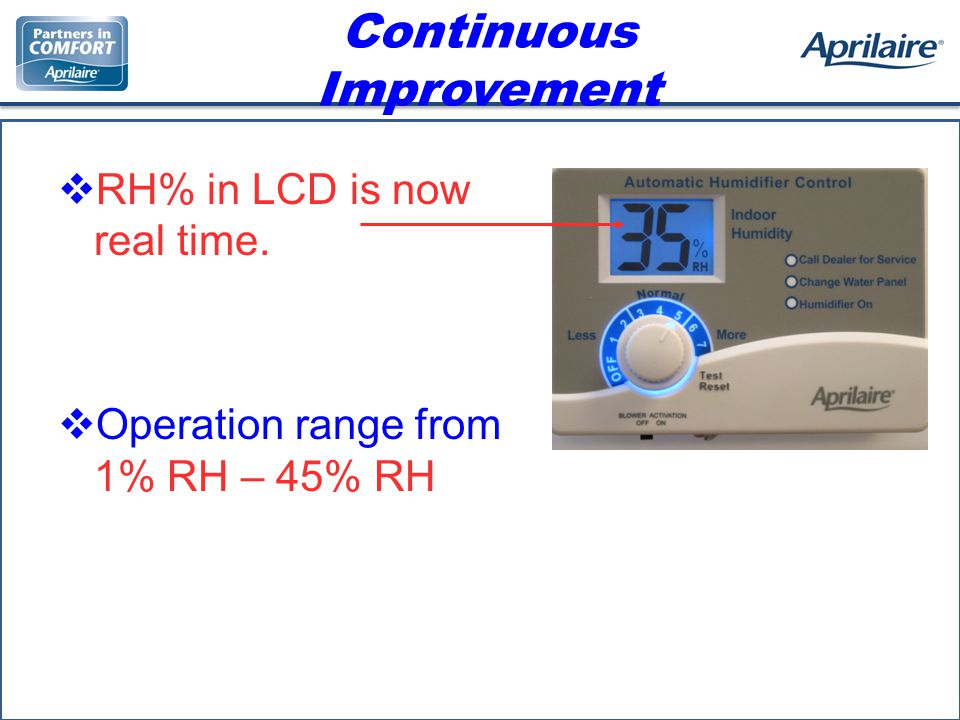 Continuous Improvement RH% in LCD is now real time. Operation range from 1% RH – 45% RH