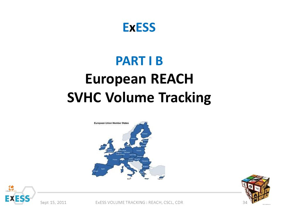 Sept 15, 2011ExESS VOLUME TRACKING : REACH, CSCL, CDR34 ExESS PART I B European REACH SVHC Volume Tracking