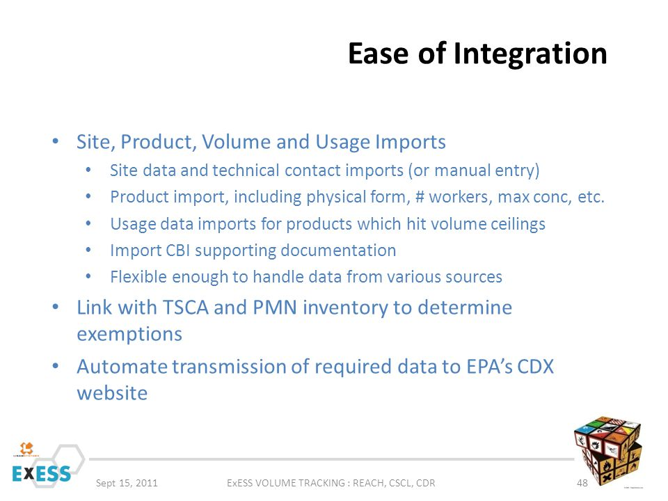 Ease of Integration Sept 15, 2011ExESS VOLUME TRACKING : REACH, CSCL, CDR48 Site, Product, Volume and Usage Imports Site data and technical contact im