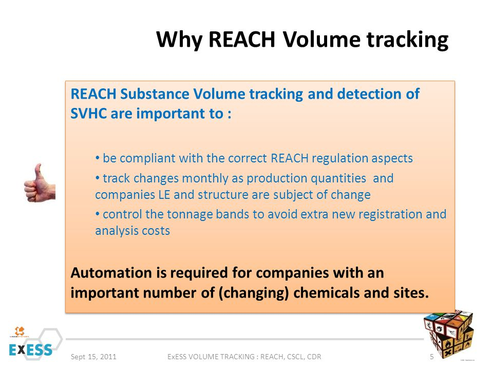 Why REACH Volume tracking Sept 15, 2011ExESS VOLUME TRACKING : REACH, CSCL, CDR5 REACH Substance Volume tracking and detection of SVHC are important t