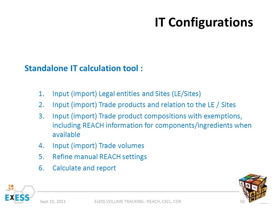 IT Configurations Sept 15, 2011ExESS VOLUME TRACKING : REACH, CSCL, CDR50 Standalone IT calculation tool : 1.Input (import) Legal entities and Sites (