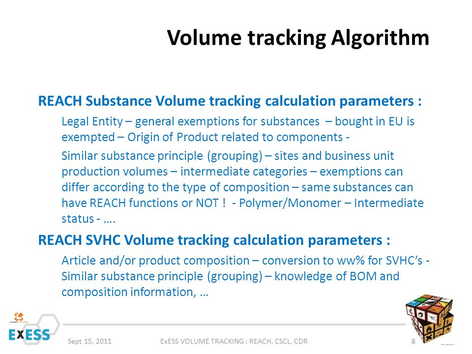 Volume tracking Algorithm Sept 15, 2011ExESS VOLUME TRACKING : REACH, CSCL, CDR8 REACH Substance Volume tracking calculation parameters : Legal Entity