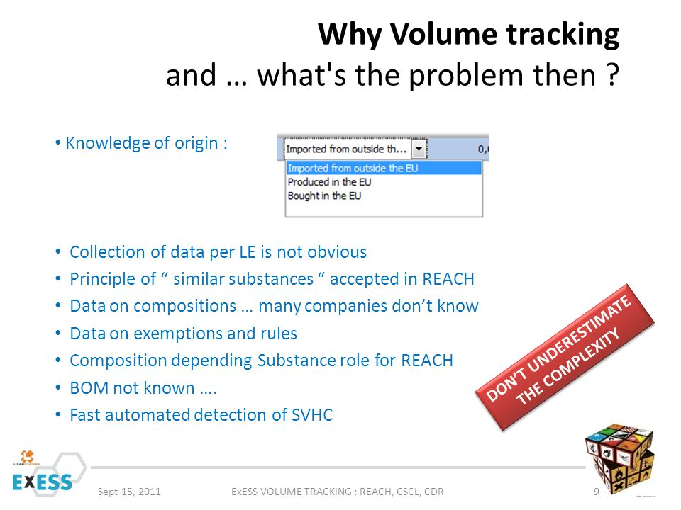 Why Volume tracking and … what's the problem then ? Sept 15, 2011ExESS VOLUME TRACKING : REACH, CSCL, CDR9 Knowledge of origin : Collection of data pe