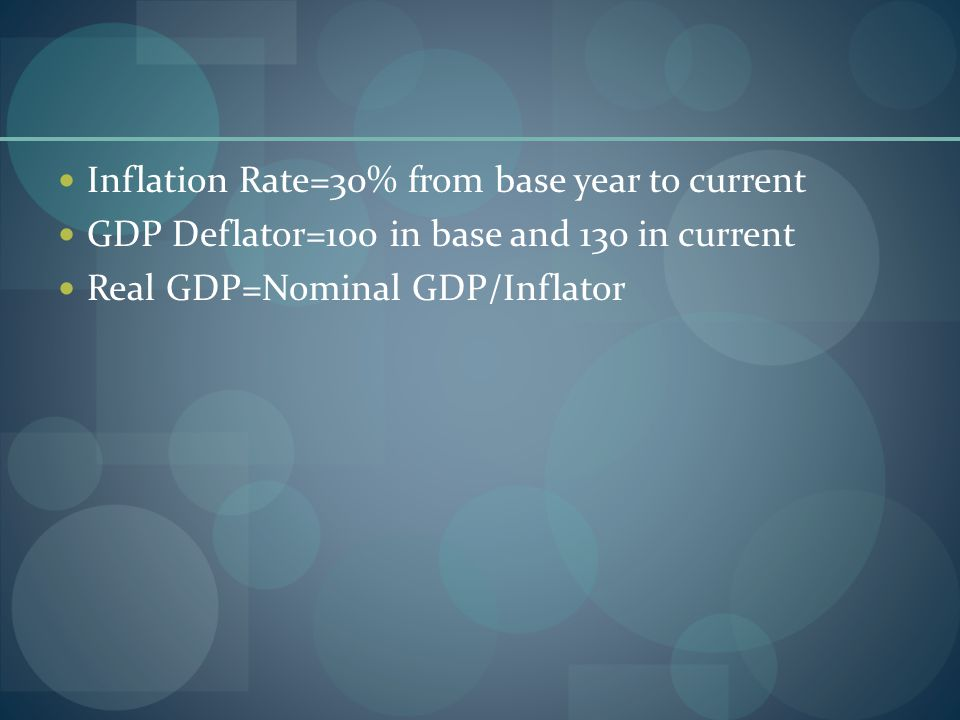Inflation Rate=30% from base year to current GDP Deflator=100 in base and 130 in current Real GDP=Nominal GDP/Inflator