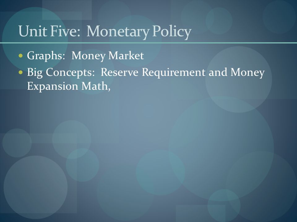 Unit Five: Monetary Policy Graphs: Money Market Big Concepts: Reserve Requirement and Money Expansion Math,