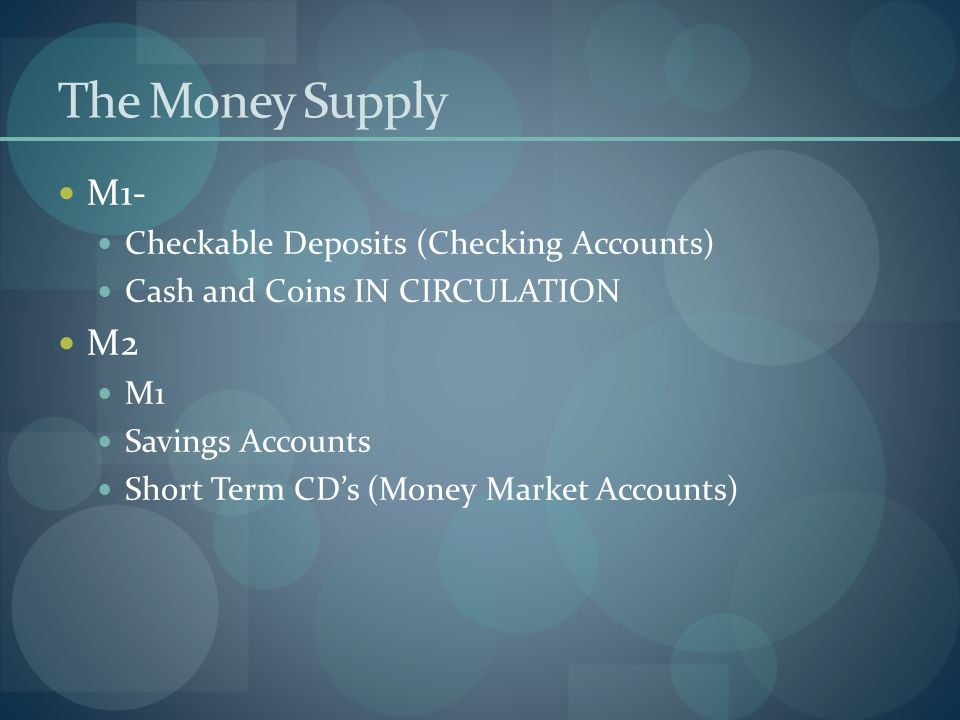 The Money Supply M1- Checkable Deposits (Checking Accounts) Cash and Coins IN CIRCULATION M2 M1 Savings Accounts Short Term CDs (Money Market Accounts