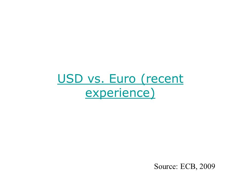 USD vs. Euro (recent experience) Source: ECB, 2009