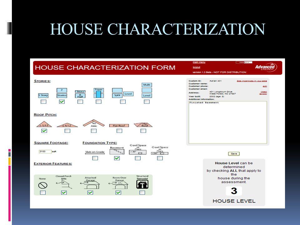 HOUSE CHARACTERIZATION