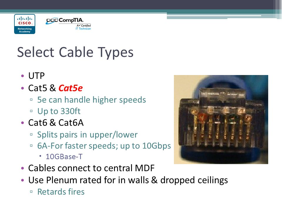 Select Cable Types UTP Cat5 & Cat5e 5e can handle higher speeds Up to 330ft Cat6 & Cat6A Splits pairs in upper/lower 6A-For faster speeds; up to 10Gbps 10GBase-T Cables connect to central MDF Use Plenum rated for in walls & dropped ceilings Retards fires