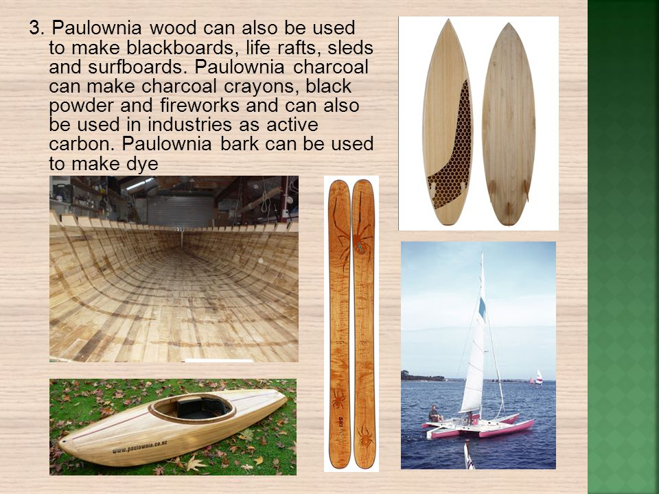 3. Paulownia wood can also be used to make blackboards, life rafts, sleds and surfboards. Paulownia charcoal can make charcoal crayons, black powder a