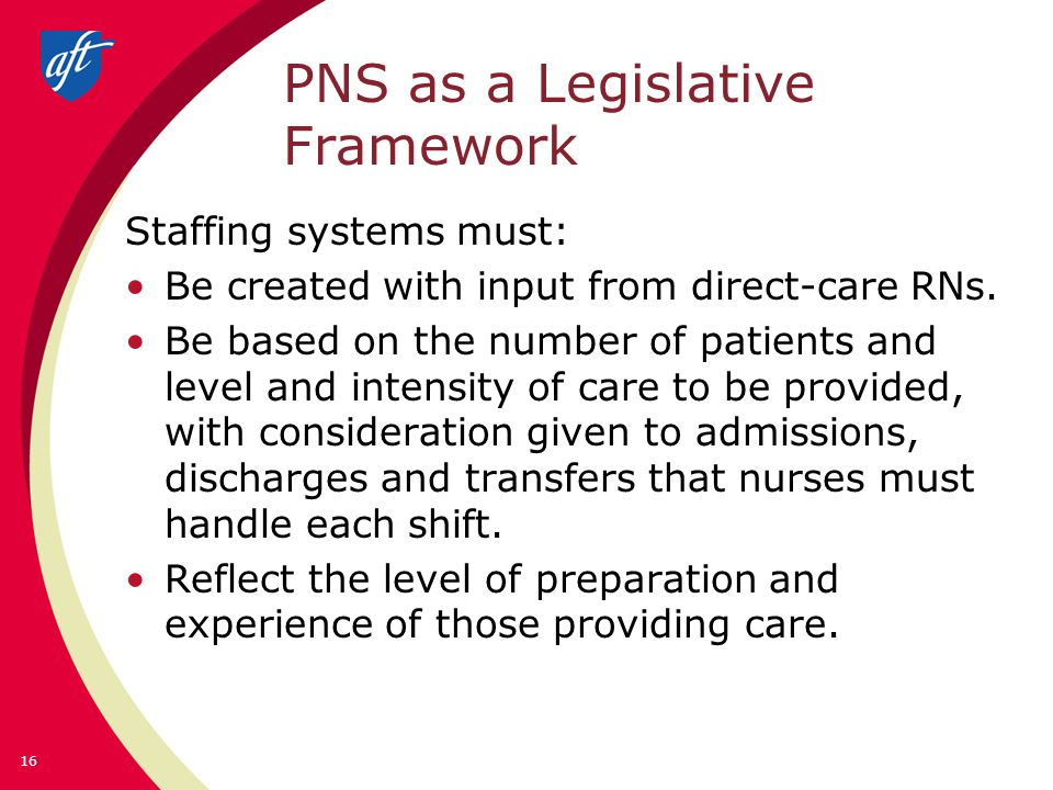 PNS as a Legislative Framework Staffing systems must: Be created with input from direct-care RNs.