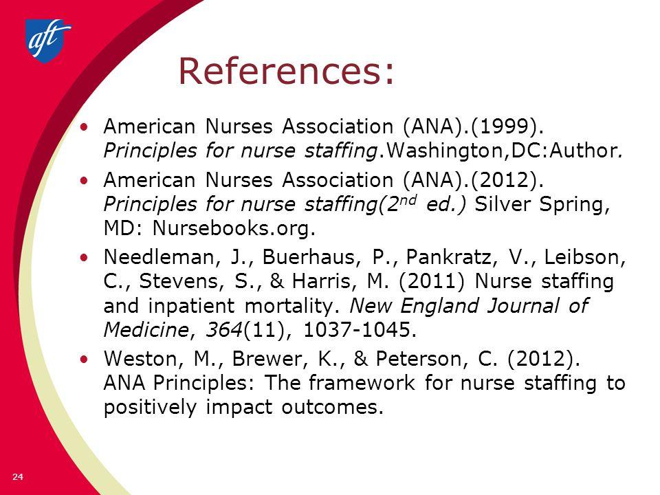 References: American Nurses Association (ANA).(1999).