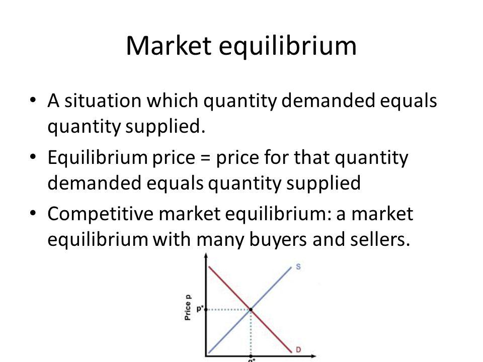 Market equilibrium A situation which quantity demanded equals quantity supplied.