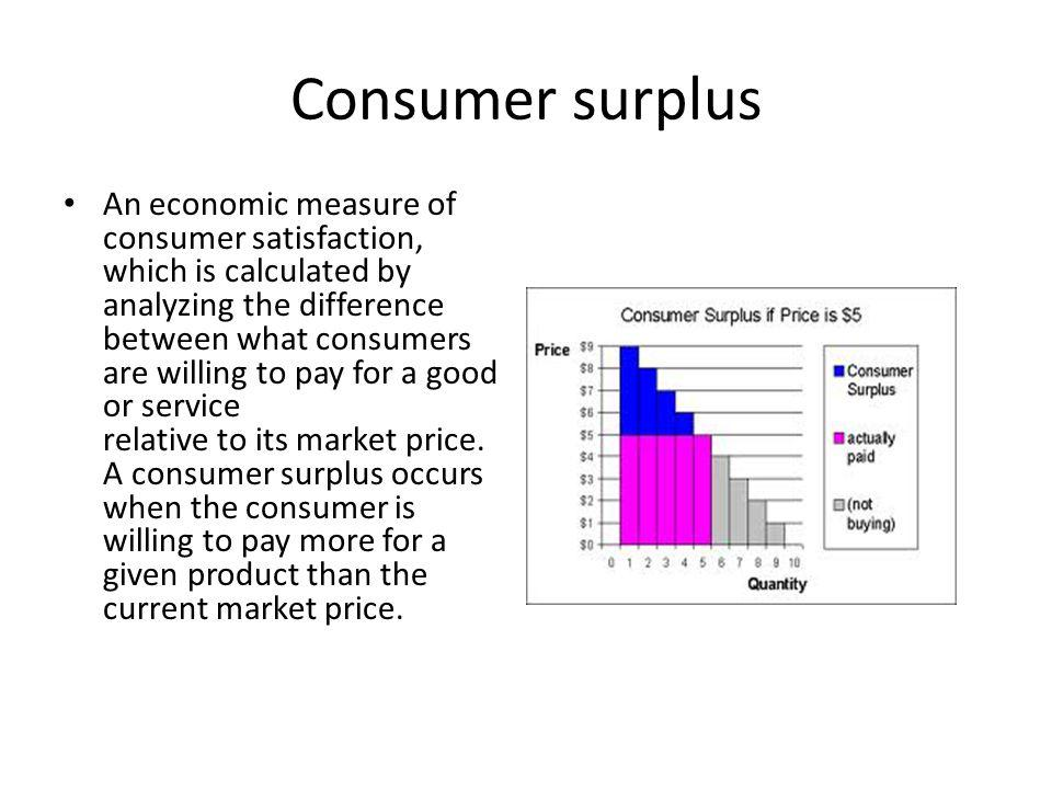 Consumer surplus An economic measure of consumer satisfaction, which is calculated by analyzing the difference between what consumers are willing to pay for a good or service relative to its market price.