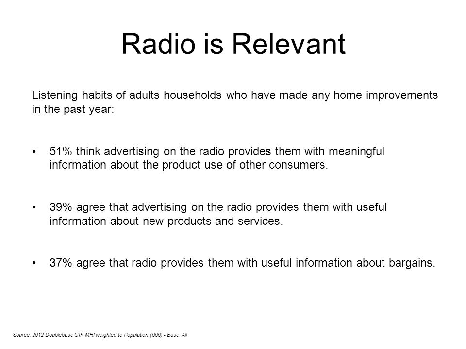 Radio is Relevant Listening habits of adults households who have made any home improvements in the past year: 51% think advertising on the radio provides them with meaningful information about the product use of other consumers.