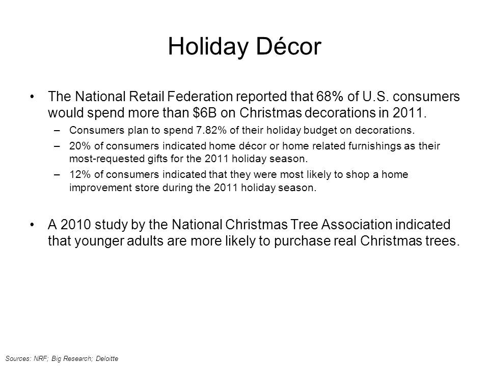 Holiday Décor The National Retail Federation reported that 68% of U.S.
