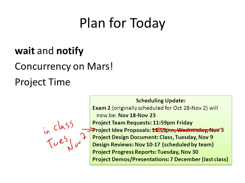 Plan for Today wait and notify Concurrency on Mars.