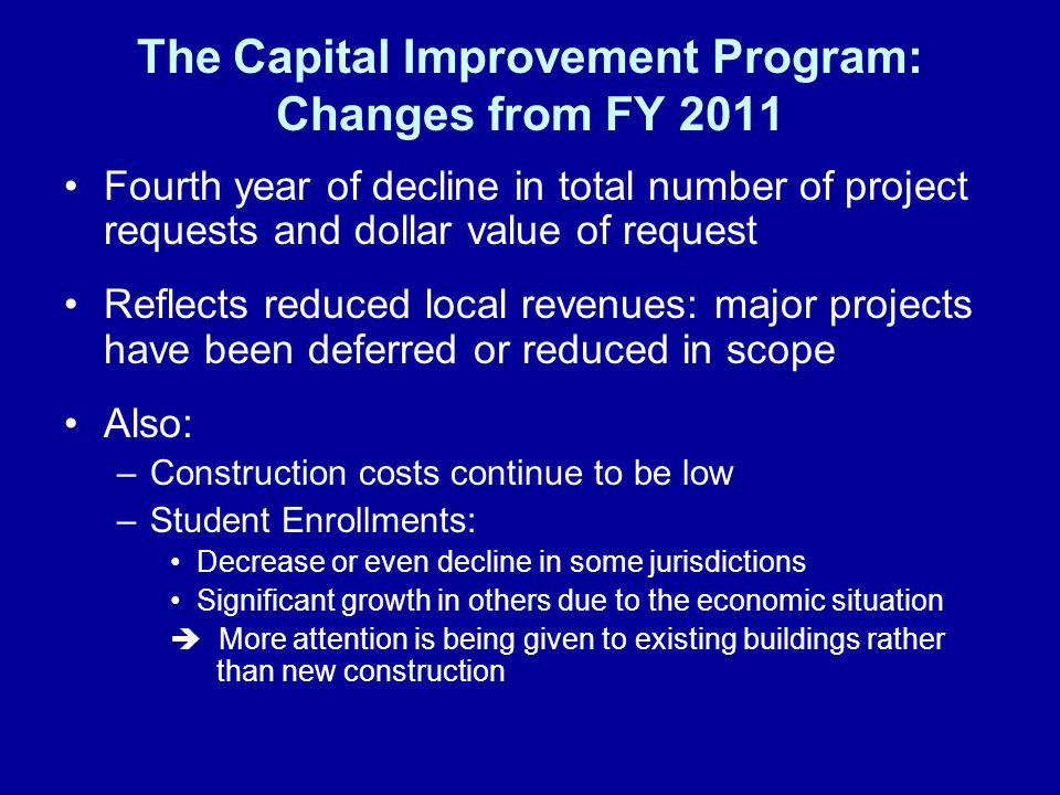 The Capital Improvement Program: Changes from FY 2011 Fourth year of decline in total number of project requests and dollar value of request Reflects reduced local revenues: major projects have been deferred or reduced in scope Also: –Construction costs continue to be low –Student Enrollments: Decrease or even decline in some jurisdictions Significant growth in others due to the economic situation More attention is being given to existing buildings rather than new construction