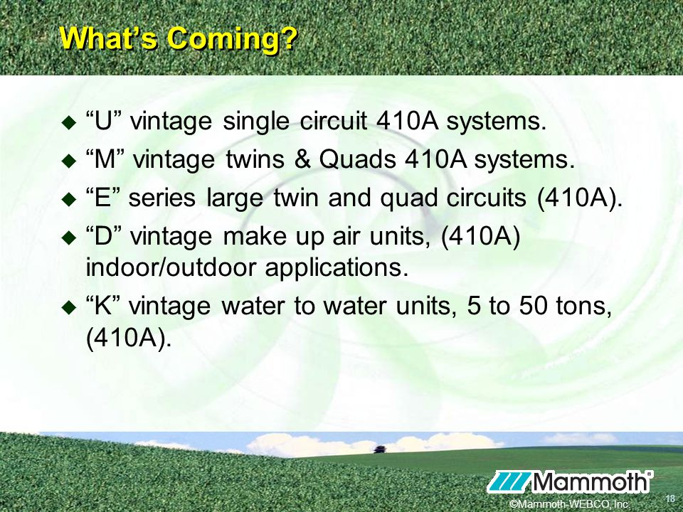©Mammoth-WEBCO, Inc.18 18 Whats Coming. U vintage single circuit 410A systems.