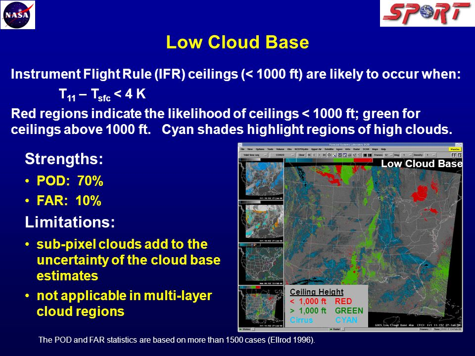 Low Cloud Base The POD and FAR statistics are based on more than 1500 cases (Ellrod 1996).