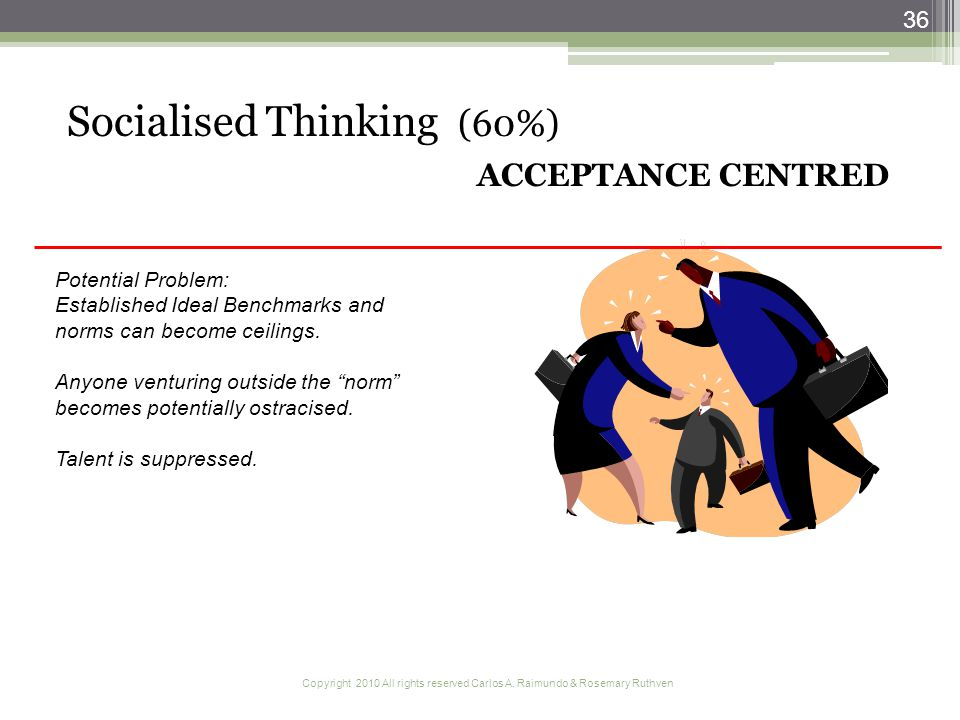 Copyright 2010 All rights reserved Carlos A. Raimundo & Rosemary Ruthven 36 Socialised Thinking (60%) ACCEPTANCE CENTRED Potential Problem: Establishe