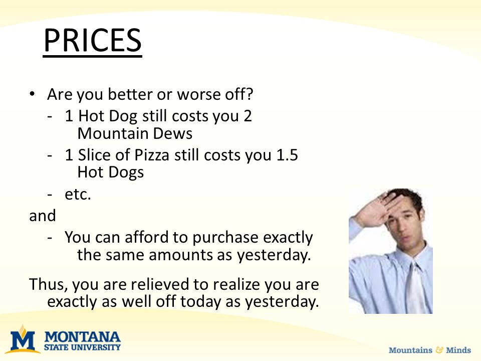 PRICES Are you better or worse off.