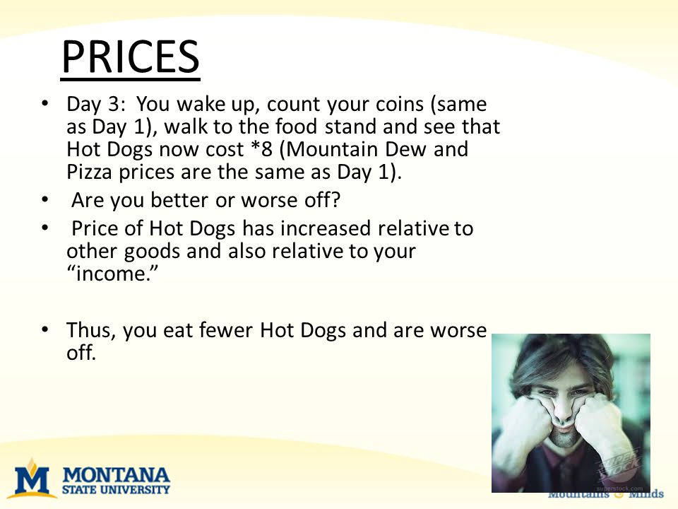 PRICES Day 3: You wake up, count your coins (same as Day 1), walk to the food stand and see that Hot Dogs now cost *8 (Mountain Dew and Pizza prices are the same as Day 1).