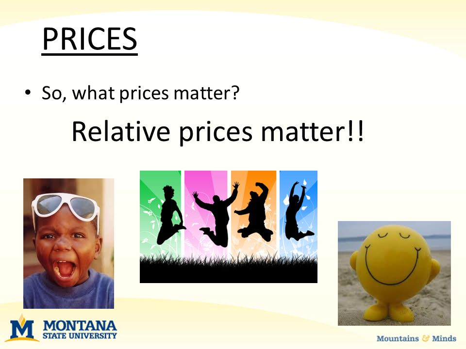 PRICES So, what prices matter Relative prices matter!!