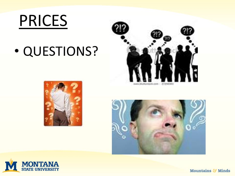 QUESTIONS PRICES