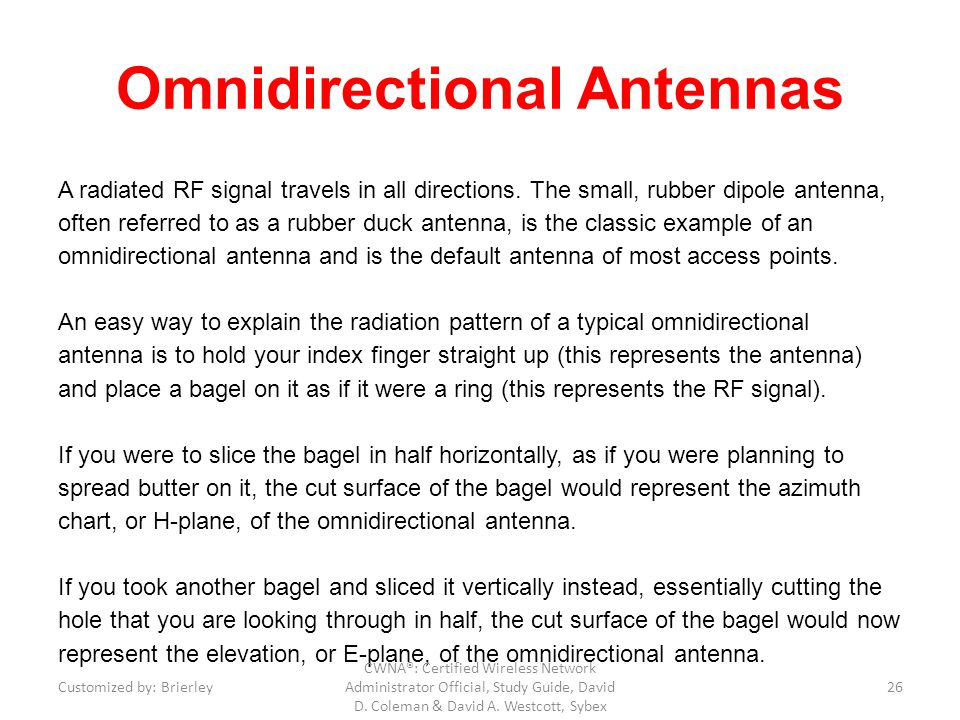 Omnidirectional Antennas A radiated RF signal travels in all directions. The small, rubber dipole antenna, often referred to as a rubber duck antenna,