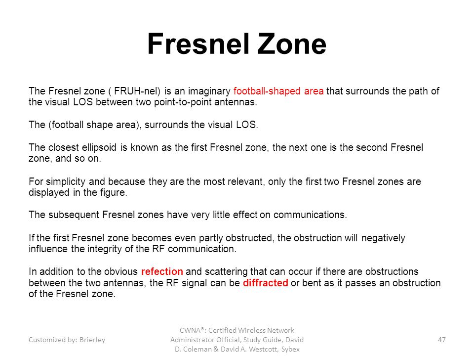 Fresnel Zone The Fresnel zone ( FRUH-nel) is an imaginary football-shaped area that surrounds the path of the visual LOS between two point-to-point an