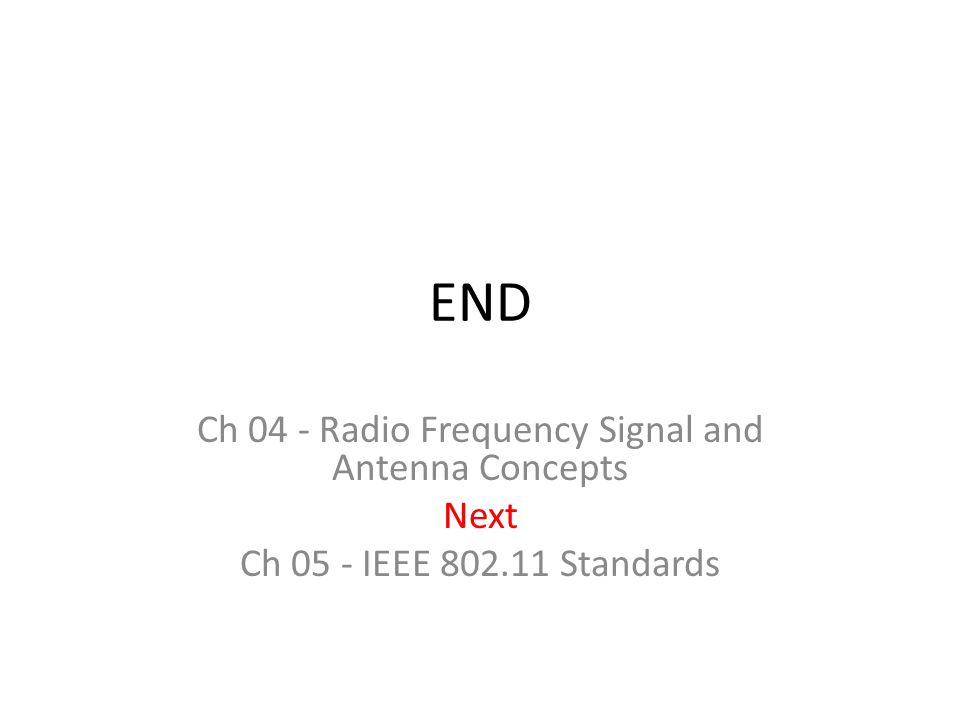 END Ch 04 - Radio Frequency Signal and Antenna Concepts Next Ch 05 - IEEE 802.11 Standards