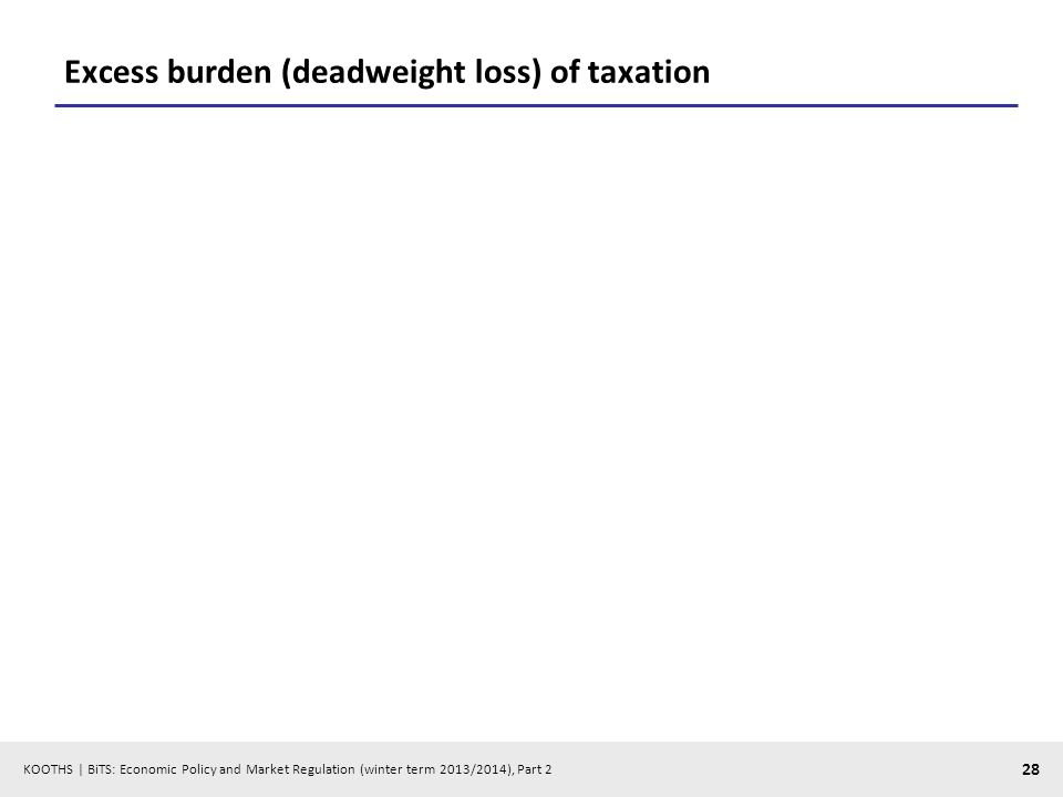 KOOTHS | BiTS: Economic Policy and Market Regulation (winter term 2013/2014), Part 2 28 Excess burden (deadweight loss) of taxation