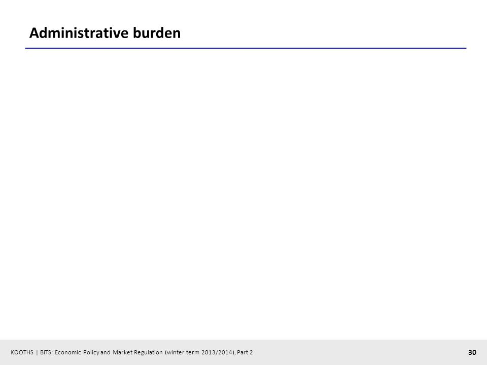KOOTHS | BiTS: Economic Policy and Market Regulation (winter term 2013/2014), Part 2 30 Administrative burden