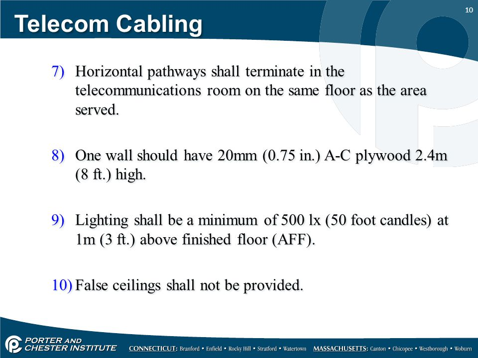 10 Telecom Cabling 7)Horizontal pathways shall terminate in the telecommunications room on the same floor as the area served. 8)One wall should have 2