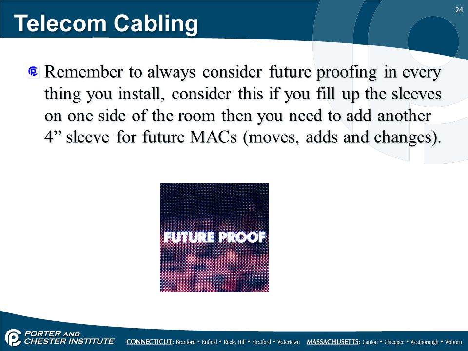 24 Telecom Cabling Remember to always consider future proofing in every thing you install, consider this if you fill up the sleeves on one side of the